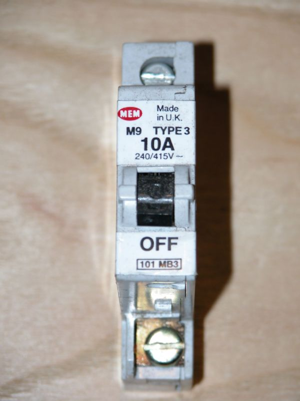 MEM Memshield 1 - 101MB3 - 10a Type 3 Single Pole MCB